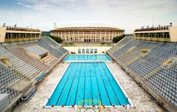 Sports swimming pool in Moscow. The old sports swimming pool in the Luzhniki Stadium in Moscow, Russia Stock Image