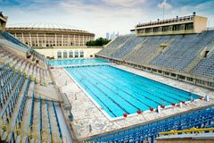 Sports swimming pool in Moscow. The old sports swimming pool in the Luzhniki Stadium in Moscow, Russia Stock Images