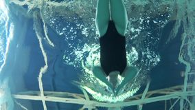 Sports swimming, woman professional swimmer floating in blue water pool during training before contest. Underwater view stock footage