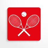 Sports symbol. Tennis. Vector icon. Red and white image on a light background with a shadow. Royalty Free Stock Photography