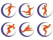 Sports Symbole mit Schattenbildern des Menschen Lizenzfreie Stockbilder