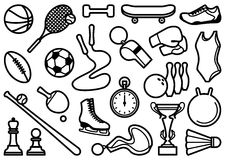Sports symbols. Simple icons of the sports goods and accessories Royalty Free Stock Photography