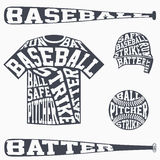 Sports symbols of baseball with typography Royalty Free Stock Photography