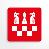 Sports symbols. Chess. Vector icon. Red and white image on a light background with a shadow. Stock Photos