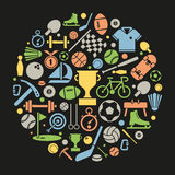 Sports symbols in a circle Royalty Free Stock Image