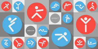 Sports symbols. Different kinds of sports symbols for competition and tournament design or idea of logo. Vector illustration of circle sport icons. Sports icon royalty free illustration