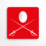 Sports symbols. Fencing. Vector icon. Red and white image on a light background with a shadow. Stock Photos