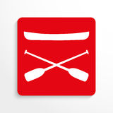 Sports symbols. Kayaking. Vector icon. Red and white image on a light background with a shadow. Stock Images