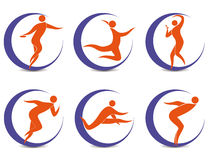 Sports symbols with silhouettes of human Royalty Free Stock Images