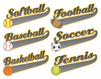 Sports With Tail Banners. Is an illustration representing six sports including baseball, softball, basketball football, soccer and tennis. The art contains text Stock Image