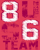 Sports team graphic. Graphic with text university sports team with number 86 on red background Stock Illustration