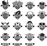 Sports teams badges or shields black and white Stock Image