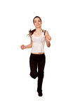 Sports Teen Girl Jogging.  Isolated On White