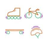 Sports thin line icon set for web and mobile. flat design. Sports thin line icon set for web and mobile. Bicycle, skatebords, skates, helmet flat design Royalty Free Stock Photos