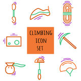 Sports thin line icon set for web and mobile. flat design. Sports thin line icon set for web and mobile. Climbing equipment flat design Stock Images
