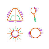 Sports thin line icon set for web and mobile. flat design. Sports thin line icon set for web and mobile. Sun, ball, racket, tent flat design Stock Images