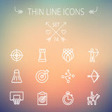 Sports thin line icon set Stock Photos