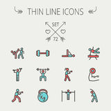 Sports thin line icon set Royalty Free Stock Photos