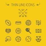 Sports thin line icon set Royalty Free Stock Photography