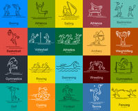 Sports thin line vector icons set pictograms Stock Image