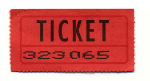 Sports-Ticket. A Red General-Admission-Ticket Stock Photo
