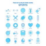 Sports Tone Icon Pack bleue - 25 ensembles d'icône illustration libre de droits