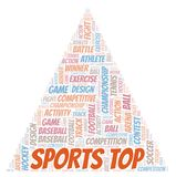 Sports Top word cloud. Wordcloud made with text only vector illustration