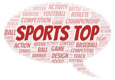 Sports Top word cloud. Wordcloud made with text only royalty free illustration