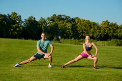 Sports trainers show the exercises. Stock Photo