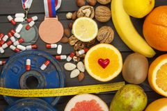 Sports training and a healthy diet. Healthy nutrition for athletes. Sporting achievements Stock Images