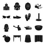 Sports, travel, religion and other web icon in black style.. Sports, travel, religion and other  icon in black style. transport, atelier, cooking icons in set Royalty Free Stock Photo