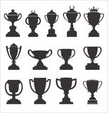 Sports trophies and awards retro black collection. Vector Stock Images