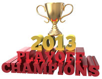 Sports trophy win 2013 playoff champions Royalty Free Stock Image
