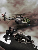 Sports TV broadcast. Helicopter filming a formula one race car for a sports television broadcast Royalty Free Stock Photography