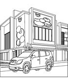 Sports utility vehicle coloring page. Hand drawn sports utility vehicle coloring page for kids Royalty Free Stock Photos