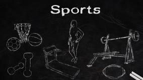 Sports variety drawn in chalk stock illustration