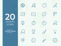 20 Sports vector icon, sports symbol. Modern, simple outline, outline vector vector illustration