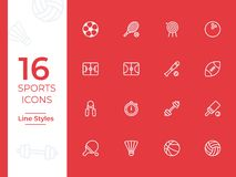 16 Sports vector icon, sports symbol. Modern, simple outline, outline vector icons for web site or mobile app vector illustration