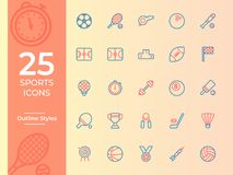 25 Sports icon, sports symbol. outline vector icons stock illustration