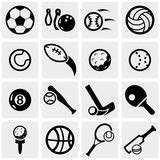 Sports vector icons set on gray. Royalty Free Stock Images
