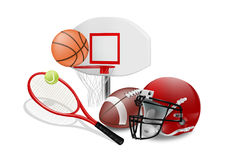Sports. Vector illustration of sport equipment on white background Royalty Free Stock Photo