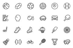 Sports Vector Line Icons 1. Get ahead in the game with this new Sports Vector Icon Pack! Included in this pack are sixteen different sports  icons ranging from Royalty Free Stock Photography
