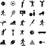 Sports vector symbols or icons set. Vector symbols set with diverse sports icons including soccer, tennis, football, skating, basketball, pool and billiards Royalty Free Stock Photo