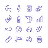 Sports vitamins and food supplements thin line vector icons. Fat burning pills and energy drinks pictograms stock illustration