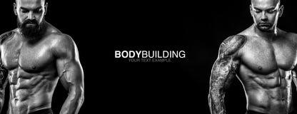 Sports wallpaper on dark background. Power athletic guy bodybuilder. Sport nutrition ads poster. Sports wallpaper. Power athletic guy bodybuilder. Sportsman Royalty Free Stock Photo