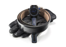 Sports watches and leather gloves for men Royalty Free Stock Images