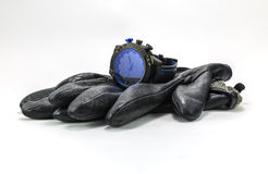 Sports watches and leather gloves for men Royalty Free Stock Photos