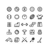 Sports wear equipment line vector icons set Royalty Free Stock Photo