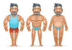 Before after sports weight loss bodybuilder muscular fat man happy characters isolated 3d cartoon design vector. Before after sports weight loss bodybuilder stock illustration