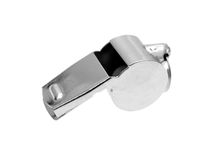Sports Whistle. A sports whistle isolated against a white background Royalty Free Stock Photos